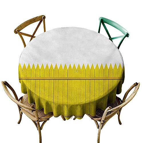 SKDSArts Party Table Cover Yellow,Colorful Wooden Picket Fence Design Suburban Community Rural Parts of Country,Yellow Mustard D36,for Party]()