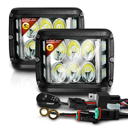 LED Pods w/ExoGlass and Switch Wiring Harness and Mounting Brackets - 9,000 Lms Spot/Flood - 180° WIDE ANGLE Off Road Side Shooter Cube - Great LED Fog Backup Auxiliary Lighting - ()