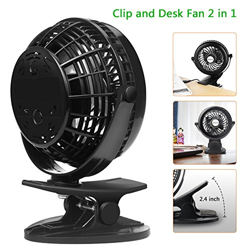 OPOLAR Battery Clip on Fan, Powered by USB or 2200mAh Rechargeable Battery, 360 Adjustable Wind, Personal Clip or Desk Fan with 3 Speeds, Multi Versatile for Office, Car, Baby Stroller and Outdoor by OPOLAR (Image #1)