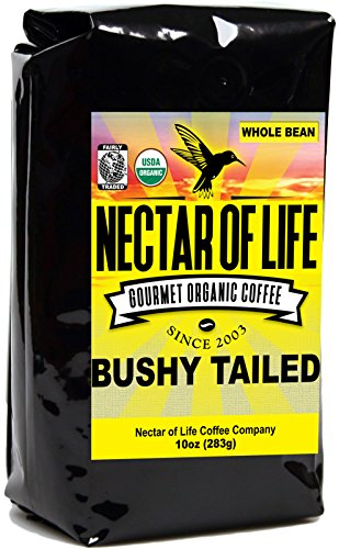 Bushy Tailed Suntanned Roast Coffee, from Nectar of Life. Whole Bean Coffee. Full Body. Thick & Citrus Spicy. Nicaragua & Colombian Coffee. 100% Elementary Coffee. 100% Fair Trade Coffee. FDA Cert. 10oz Bag
