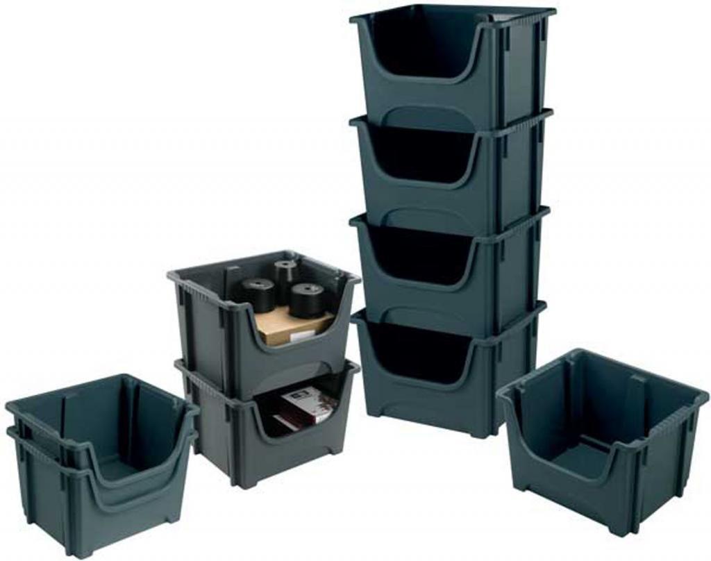 6 x Large Dark Grey Plastic Storage Container / Space Bin BARTON