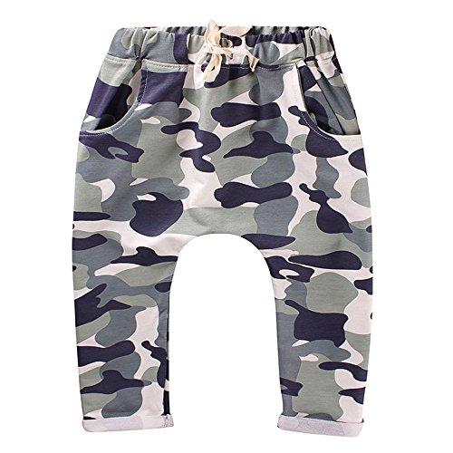 Leedford Toddler Kids Boys Camouflage Print Winter Baggy Waist Harem Pants Twill Pants (Green, 3T) (Gentry Pattern)