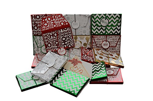 Gift card holder, Christmas designs, white cardboard envelope box with strong elastic and tag, Red, Green, Gold and Silver, pack of 18 gift boxes (Santa Card Gift)