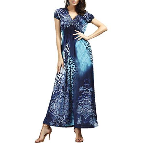 GWELL Damen Seide Bohemia Floral Tief V-Ausschnitt Maxikleid Sommer Kleider Strand Kleid Dunkelblau xZFGM