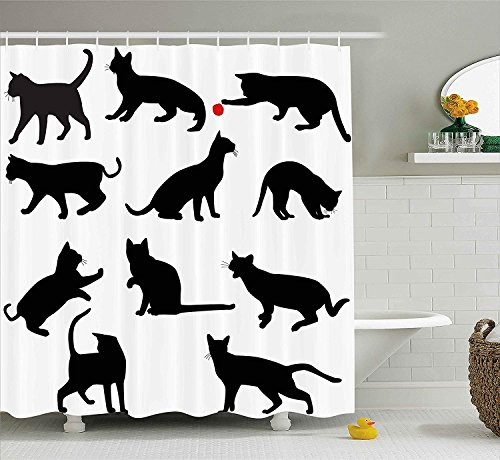 Jagfhhs Cat Silhouette of Kittens in Various Postures Playing Red Ball Animal Pet Paw Print Vermilion Black Long Shower Curtains with Hooks Home Dorm Hotel Bath Decor