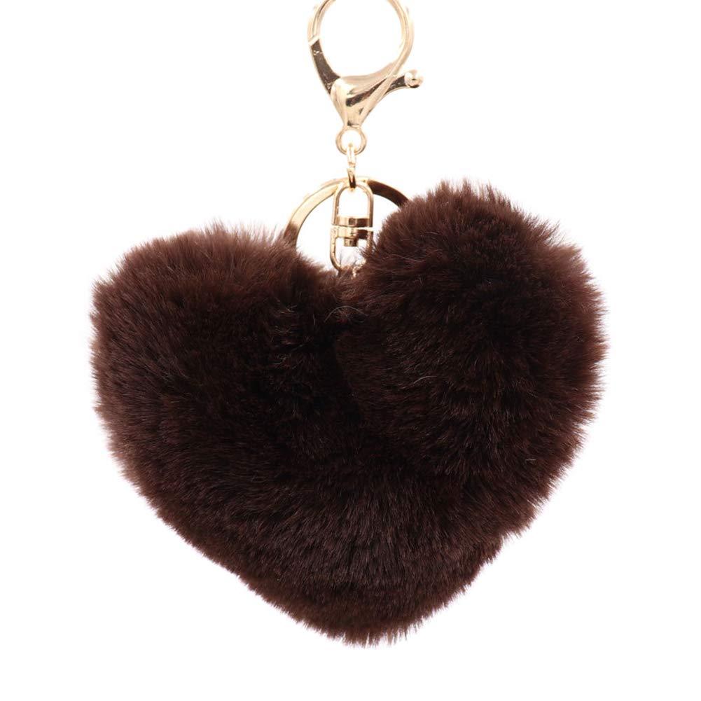10 Beige 10cm Shuda 1 Pcs Porte-cl/és Keychain Creative en Peluche en Forme de Coeur-Style Pendentif Porte Cl/é Pompon D/écoratif pour Hommes Femme Enfants