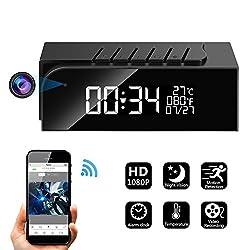 Hidden Camera Alarm Clock Spy Camera WiFi Cameras Wireless Mini Nanny Cam Motion Detection Home Surveillance Security Super Night Vision Temperature Display (B)