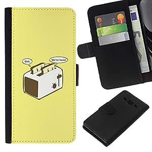 Tostada Tostadora divertidos Amarillo Posters- la tarjeta de Crédito Slots PU Funda de cuero Monedero caso cubierta de piel Para Samsung Galaxy A3