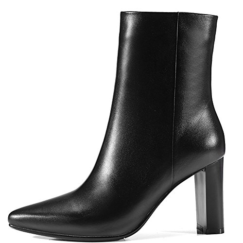 Genuine Handmade Heel Ankle Black Sexy Nine Chunky Pointy Women's Toe Leather Seven Booties Dress 5xxwnqvRZ
