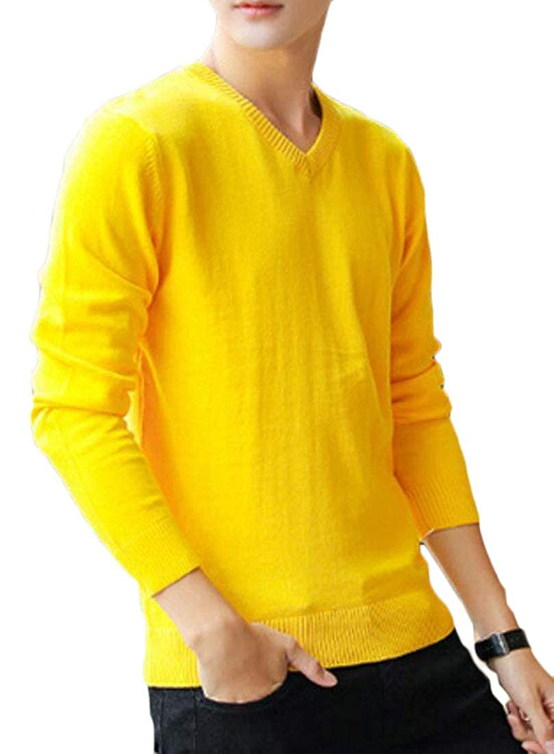 BU2H Men Solid Long Sleeve Knitwear Casual V Neck Pullover Sweater Top