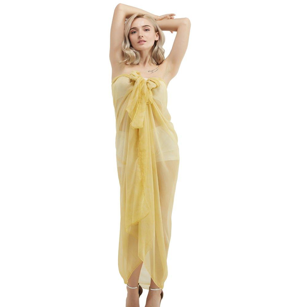 Women's Polyester Long Scarf Lady's Silk Chiffon Sunscreen Shawls Beach Wraps Bikini Covers Thin Soft Spring Summer (Yellow)
