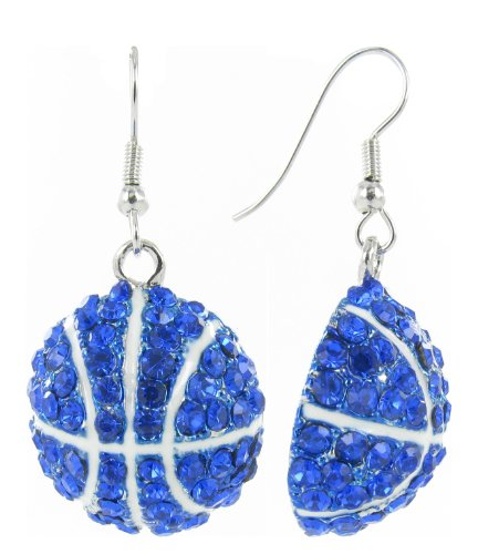 Basketball Dangle Fish Hook Earrings - Royal Blue Crystals with White Enamel Stripes