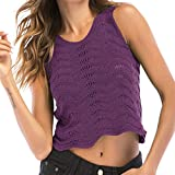 Women Top Hooked Openwork Wavy Side Sleeveless Cami Tank Vest Blouse Crewneck High Purple