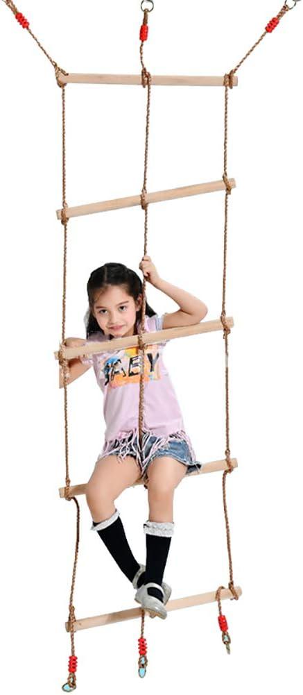 ROCK1ON 5 Pasos Escalera de Cuerda de Escalada para Interiores y Exteriores 71 Pulgadas de Longitud Niños de Madera Columpio Deportes Ideal para Escalada árbol Casa de Juegos 120kg: Amazon.es: Deportes y