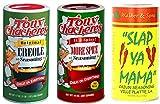 Slap Ya Mama All Natural Cajun Seasoning 16 oz & Tony Chachere's Original Creole Seasoning 17oz and Tony Chachere's More Spice Creole Seasoning 14oz Bundle from Louisiana