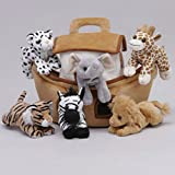 Plush Noah's Ark with Animals - Six (6) Stuffed Animals (Lion, Zebra, Tiger, Giraffe, Elephant, and White Tiger) in Play Ark Carrying Case
