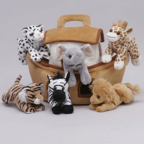 (Plush Noah's Ark with Animals - Six (6) Stuffed Animals (Lion, Zebra, Tiger, Giraffe, Elephant, and White Tiger) in Play Ark Carrying Case)