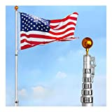 30FT Flag Pole Aluminum Telescopic Flagpole Kit 3x5' U.S Flag Fly 2 Flag