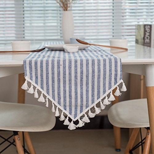 Minimalist Table Runner Decoration Mat Table Cloth Cup Mat Classic Country Chic style Cotton & linen Dining Tablecover Table Runners With Tassel HZQ-05 30X180CM,horizontal blue / white stripes