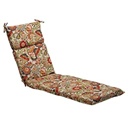 Pillow Perfect Indoor/Outdoor Multicolored Modern Floral Chaise Lounge Cushion