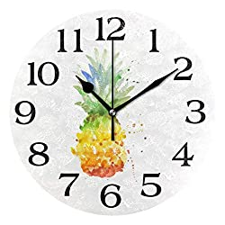Linomo Abstract Watercolor Pineapple Wall Clock Decor, Silent Non Ticking Round Clock Quiet for Kitchen Living Room Bedroom Bathroom Office