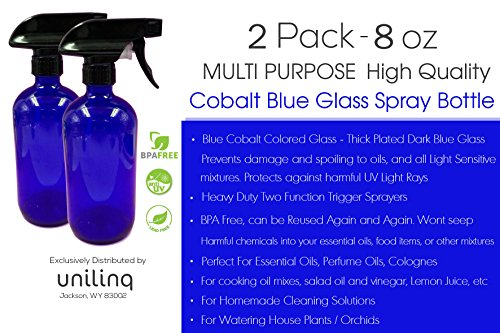 511fd61304fb 8 oz (250ml) 2 Pack New Cobalt Blue Glass Bottle Boston Round Thick Glass  Spray Bottles – with Trigger Sprayer. Perfect for Home, Essential Oils, ...