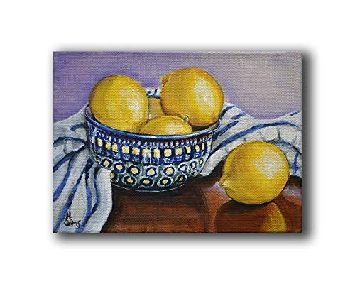 Polish Pottery Bowl and Lemons Still Life Fine Art Print Giclee, Kitchen Wall Decor, size mat option