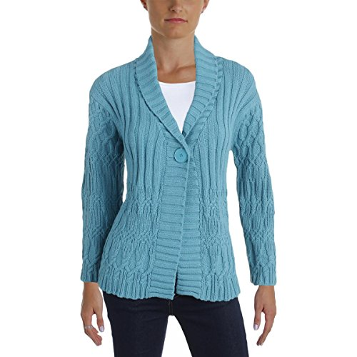 Charter Club Womens Petites Cable Knit Long Sleeves Cardigan Sweater Blue PM (Cable Knit Petite)