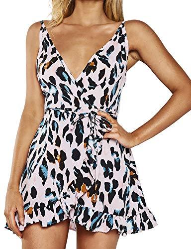 Relipop Women's Short Dresses Leopard Print Strapped Deep V Neck Ruffle Wrap Fishtail Mini Dress White (Leopard Print Colorful)