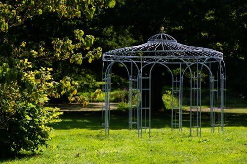 Cenador de metal estable KUHEIGA de 350 cm, en negro, blanco, verde abeto o antracita, Zinc y verde abeto: Amazon.es: Jardín
