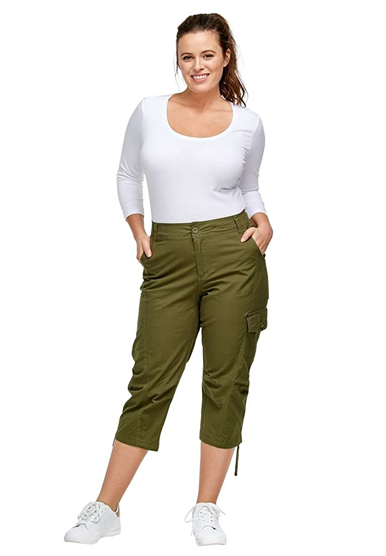 5a8aa733b6d24 Easy essential cargo capris with rigid waistband and button zip fly. Belt  loops. Front pockets