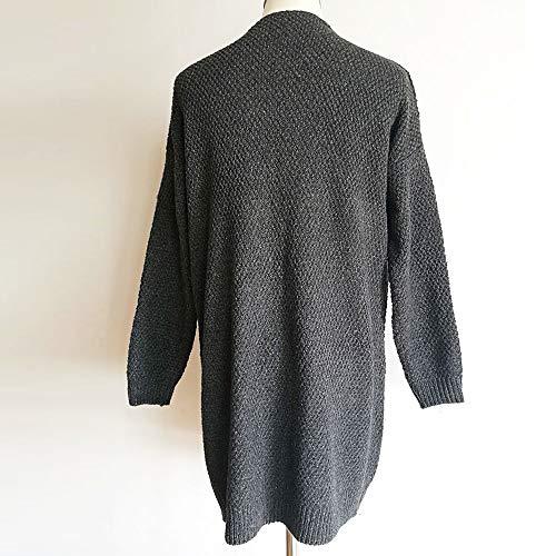 Oscuro Manga Suéteres Gris Color Suéter Frente Bolsillo Mujer De Sx7ASpq