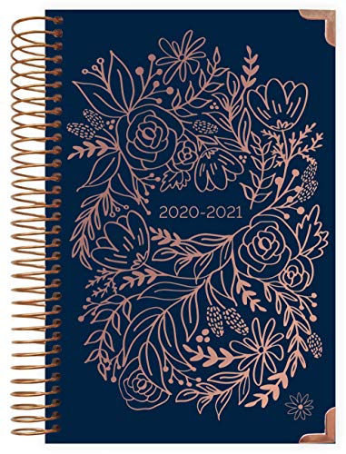 """HARDCOVER bloom daily planners 2020-2021 Academic Year Day Planner Calendar (July 2020 - July 2021) - 6"""" x 8.25"""" - Passion/Goal Organizer - Monthly/Weekly Inspirational Agenda Book- Navy Embroidery"""