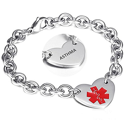 LF 316L Stainless Steel Asthma Engraved Medical Alert Heart Charm Link Bracelet Rolo Chain Medic ID Bracelets Monitoring Awareness for Womens for Outdoor Emergency (Asthma Medical Alert Bracelet)