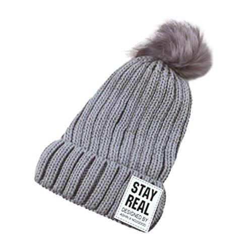 Rumas Baby Toddler Kid Elasticity Ball Letter Beanie Handcraft Knitted Warm Hat Cap (Gray) - Earflap Ball Cap
