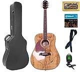 Oscar Schmidt OG2SMLH Acoustic Guitar - Spalted Maple Left Handed Hard Case Bundle