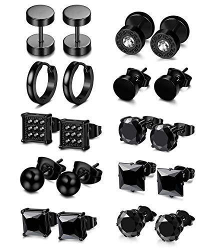 LOLIAS 10 Pairs Stainless Steel Black Stud Earrings for Men Women Ear Piercing Set Hoop Huggie Earring