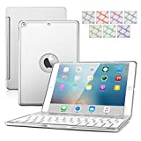 iPad Air Keyboard Case, DINGRICH 7 Color Backlit Keypad Ultra-Slim Aluminum Bluetooth Keyboard Case Cover Built-in Stand+Free Screen Protector&Stylus for iPad air/iPad5(2013 Release Only)(Sliver)