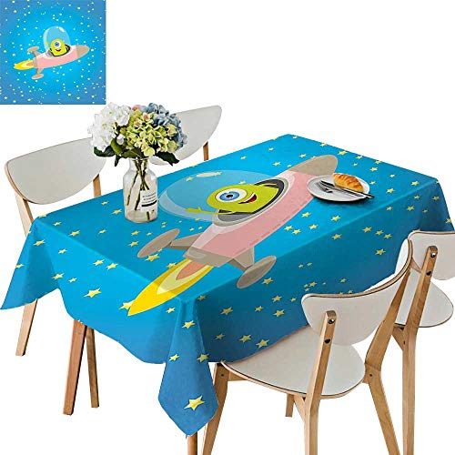 UHOO2018 Square/Rectangle Indoor and Outdoor Tablecloth Cute Alien Circle Saucer Star Cluster Elliptical Journey Print Restaurant Party,50 x102inch
