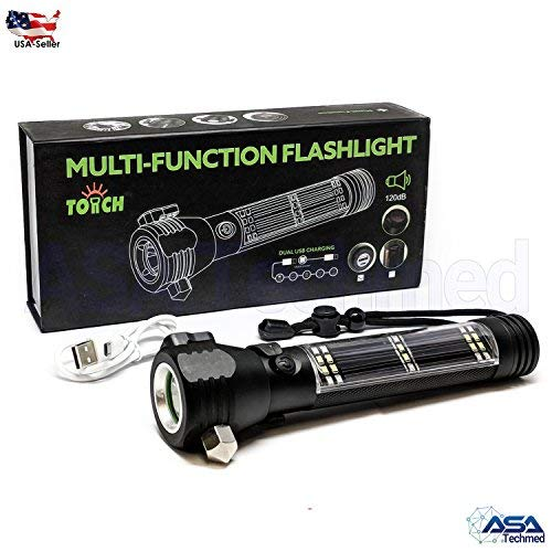 Seat Belt Cutter Tactical Black Roadside Rescuer 9-in-1 Multi-Function Solar Powered Car Emergency Flashlight Tool with Window Breaker Camping /& Emergencies Compass /& Flashlight for Travel