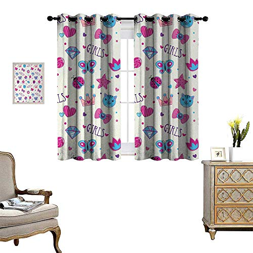 Anyangeight Teen Girls Room Darkening Wide Curtains Pattern with Funny Doodle Elements Bowtie Ladybird Diamond Figures and Kitty Decor Curtains by W63 x L63 Fuchsia Blue