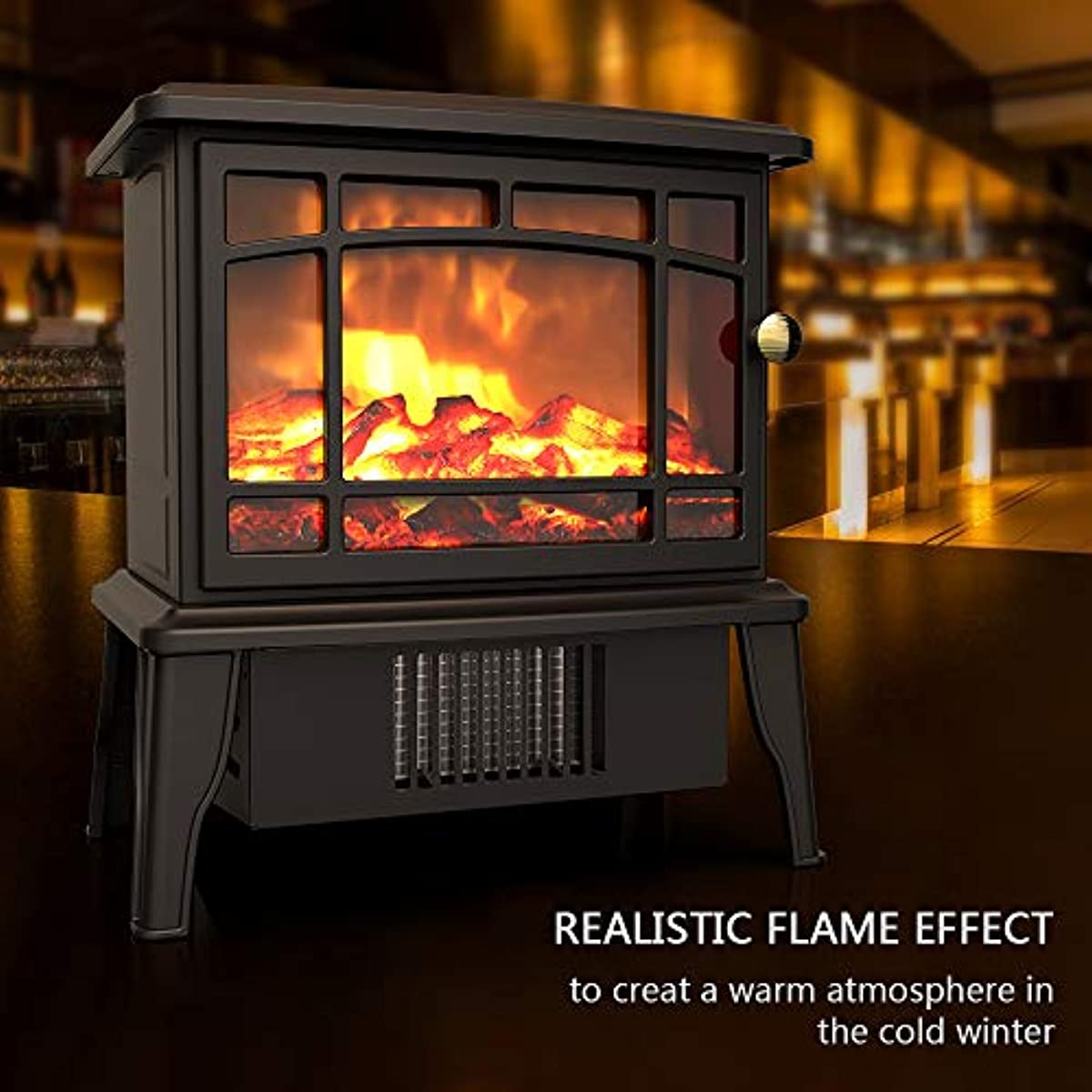 Mini Portable Electric Fireplace Heater Logs Realistic Flames