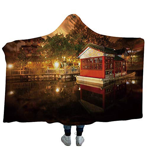 VOUCHERS Hooded Blanket,Ancient China Decorations,Deluxe Blanket Relieves Anxiety, Stress, Agitation -