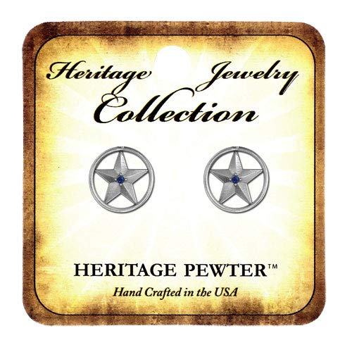 1pc, Pewter Star Earring Sapphire ()