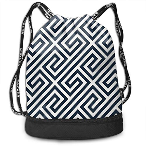 Berasd Navy Greek Keys Geometric Pattern Customized Multifunctional Beam Drawstring Backpack Unisex Suitable for Outdoor Travel