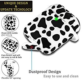 Airpod Case Soft Silicone Flexible Skin Cow Print LitoDream Airpods Case Cover for Apple AirPods 2&1 Cute for Girls with…