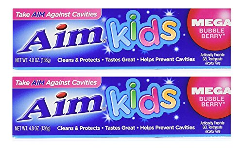 Aim Kids Mega Bubble Berry Anticavity Fluoride Gel Toothpaste - 4.8 Ounce (2-Pack) ()