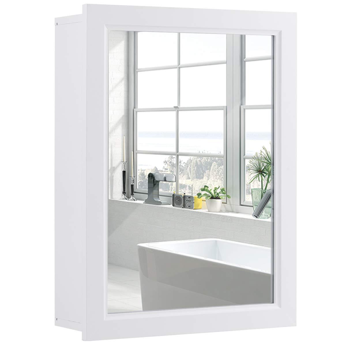 Tangkula Mirrored Bathroom Cabinet, Wall Mount Storage Organizer, Medicine Cabinet with Single Doors