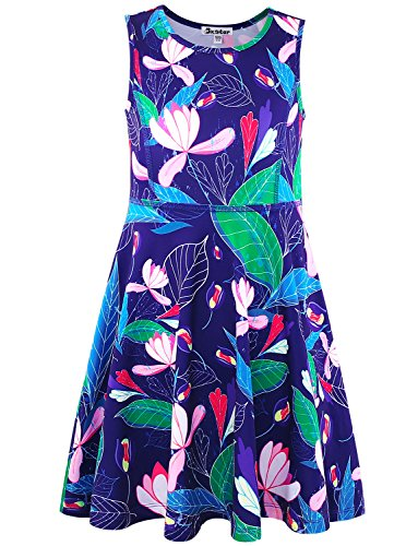 - Toddler Girl Dress Kid Summer Floral Navy Flower Sleeveless Teen Casual American