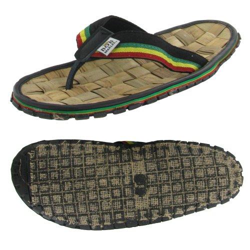 Bob Marley Bambus Menns Flip Flops Thong Sandaler Sort / Tan Svart